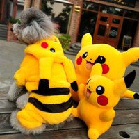 Wholesale Yellow Dog Coat - new go Funny cartoon Halloween dog Pikachu costume cloth pet cat dog coat jacket hoodie jumpsuit small dog Chihuahua clothes