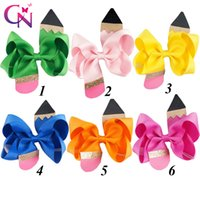 """Wholesale Models Hair Bows - 18 Pcs  Lot 4 .5 """"Solid hair Ribbon Pencil Model Bow With Ribbon Covered Clip For Girls Kids Handmade Boutique Fashion Hair Accessories"""