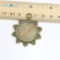 Wholesale Antique Bronze Photo Frame - 5pcs Antique Bronze Plated Sunflower Photo Frame Charms Pendants for Necklace Jewelry Making DIY Handmade Craft 29mm