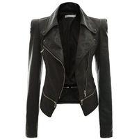 jaqueta de couro para vestuário feminino venda por atacado-Atacado- mulheres de couro casaco Punk Cardigan Plus Size Outono Inverno Casaco Bomber Casaco Feminino Casacos Básicos Mulher Outerwear