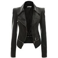 punk bombardıman ceketi toptan satış-Toptan Satış - Toptan-Deri Kadın Coat Punk Hırka Artı Boyutu Sonbahar Kış Bombacı Ceket Casaco Feminino Temel Ceketler Kadın Giyim Giyim