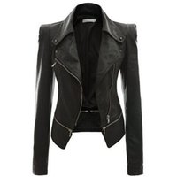 панк плюс размер одежды женщины оптовых-Wholesale- Leather Women Coat Punk Cardigan Plus Size Autumn Winter Bomber Jacket Casaco Feminino Basic Jackets Woman Clothes Outerwear