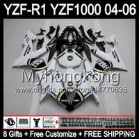 Wholesale Black Lucky Strike Fairing - 8Gifts+ Body Lucky Strike For YAMAHA YZF-R1 04-06 YZF R1 MY43 YZF1000 White black YZFR1 04 05 06 YZF 1000 YZF R 1 2004 2005 2006 Fairing Kit