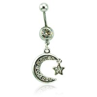 Body Piercing Fashion Bagues à ventre Bustier chirurgical Barbells Dangle Bijoux blanc Piercing à la lune Piercing Jewelry