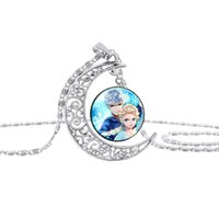 Wholesale Angels For Decorating - Moon Shape Gemstone Frozen Necklace Fashion Elsa Decorate Pendant Necklace for Girls Children Day gifts Pendant Necklace