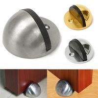 Wholesale Furniture Wedges - Wholesale- Rubber Door Holder Stop Wall Floor Mount Stopper Wedge Nickel Chrome Screws New Furniture Accessories