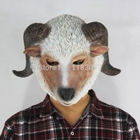 Wholesale Goat Prop - Goat Latex Mask Sheep Full Head Mask for Creepy Costume Party Environmental Protection Mythology Fancy Prop Free Shipping