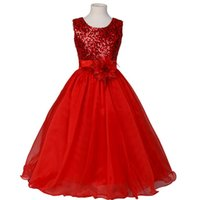 Wholesale Girls Sequin Formal Dress - Custom girl dress fashion sequins manual flower simple pure color girl dress elegant flower children's wear formal dress
