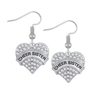 Wholesale Cheer Necklaces - Engrave Letter CHEER SISTER Earrings & Bracelet & Pendant Necklaces &Pendant Charms Jewelry Rhodium Plated Crystal Pendant Jewelry