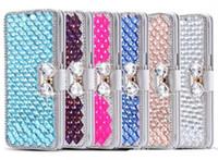 Wholesale Diamond Leather Flip Phone Cover - Luxury Diamond Cell Phone Case Galaxy S7 Edge Flip Cover Stand flip cover case for Iphone 6s plus S7