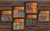 Wholesale Vintage Wooden Photo Frames - custom photo wallpaper Vintage wooden frame wooden letters wallpaper modern 3d