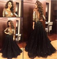 Wholesale Dresses Celebrities Arabs - 2016 Sexy A Line Celebrity Dresses Myriam Fares Black Key Hole Dresses Sequins Beads Arab Evening Gowns with Long Sleeves