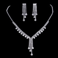 Wholesale Diamond Bridal Sets Rings - 2017 upscale bridal jewelry silver plated diamond necklace tassel romantic bride necklace earrings accessories, free shipping.