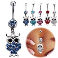 Wholesale Kawaii Rhinestones - 10pcs Kawaii Owl Belly Button Rings mix 316L Surgical Steel Fashion Navel Rings Dangle for Women Belly Piercing Body Jewelry set