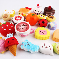 Wholesale Girls Rose Handbags - 10pcs lot Kawaii Squishies Rilakkuma Donut Cute Phone Straps Slow Rising Squishies Bag Charms Jumbo Buns Charms Handbag Squishy 77