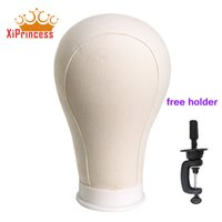 Wholesale Hair Wigs For White Women - White color canvas block head mannequin head for wig display hair extension tools with free holder