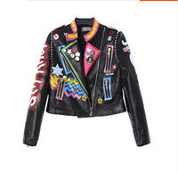 Wholesale Painted Jacket Leather - Wholesale-Europe tide brand new metal decorative painting personalized street trend leather motorcycle jacket women Dongkuan