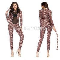 Wholesale Latex Catsuit Sold - Wholesale-2016 Hot Selling Sexy Leopard Print Costume Women Bunny & Cats Jumpsuit Nightwear Bodycon Jumpsuit Overalls Club Catsuit