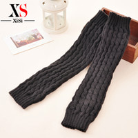 Wholesale Thick Red Wool Socks - Wholesale-Casual Style Acrylic Legwarmers Thick Leg Warmers For Ladies Wool Winter Soft Knitted Stocking Boot Legging White