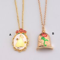 Wholesale Wholesale Metal Necklace Pendant - Fashion Jewelry Gold Charm Beauty And The Beast Necklace Rose Pendant Necklace Kids Women Gifts 2 Styles 3011006