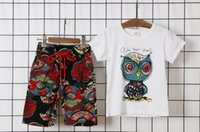 Wholesale Cartoon Beach Shorts - Cartoon owl picture cotton short-sleeved baby T shirt 2016 Summer boys beach sports casual two piece suit (short sleeve + shorts) E183