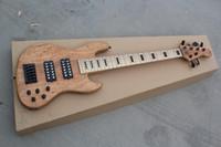 guitarra 9v venda por atacado-Personalizado Natural 6 Cordas JazzBass Bass Guitarra Elétrica 9 V Bateria Ativo Pickups Maple Neck Black Block Fingerboard Inlay Preto