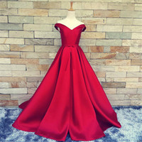 Wholesale Dress Evening Black Long Free - Cheap Evening Dress 2016 Free Shipping Real Pictures Evening Gowns Red Satin Sexy Off Shoulder V-Neck Long Prom Dresses