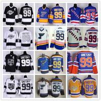 Wholesale Green Ranger Spandex - New York Rangers 99 Wayne Gretzky Throwback Jerseys Hockey St. Louis Blues LA Los Angeles Kings Vintage Blue White Black Yellow Orange