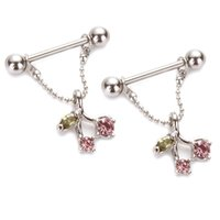 Wholesale Pink Barbells - 6pcs lot nipple ring 14G Pink Crystals Cherry stainless Steel nipple chains Nipple Piercing nipple barbells body jewelry for Women