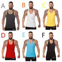 Wholesale Cheapest Underwear Men - Cheapest Men's Build Body Underwear Solid Color Men's Tank Tops Cotton Vest Movement Loose Training Vest Colorful