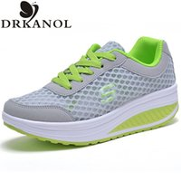 Wholesale Platform Swing - New 2017 Summer Breathable Air Mesh Shoes Women Lace Up Platform Women Casual Shoes Low Top Height Increasing Swing Shoes