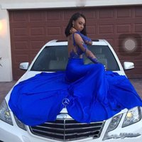Сексуальная длинная рукава без спинки Sheer See Through Mermaid African Evening Dresses Boat Neck Long Floor Length Royal Blue Black Girl Prom Gowns