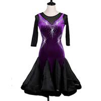 ingrosso vestiti di manica neri viola-Abito da ballo latino velluto Donna CHEAP Salsa Dress Tango D0203 Viola con strass a rete 1/2 orlo arricciato