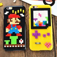 Wholesale Brick Apple - cartoon cases DIY 3D Building Blocks Bricks cases For iphone 6s plus iphone 6s iphone 6 plus iphone 6 S7 edge brands shell