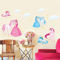 Wholesale Kindergarten Wall Decals - Princess Horse Removable Vinyl Kindergarten Nursery Kids Girl Child Bedroom Home Decor Art Mural DIY Wall Stickers Decal