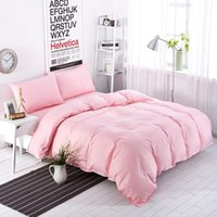 Wholesale Pink Striped Bedding - Wholesale- New Bedding Sets Sweetheart Full Pink Style Striped Bed Sheet Duver Quilt Cover Pillowcase Soft Silver Gray King Queen Full Twin