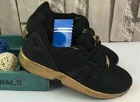 Wholesale Order Summer Shoes - 2016 men women originals zx flux black gold sport shoes 36-44 with shoes box mix order