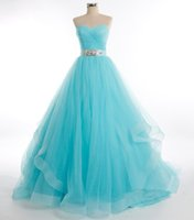 Wholesale Sweetheart Neckline Beaded Empire - Sweetheart Neckline Organza Tulle Ball Gown Prom Dress Lace Up 2018 Beaded Prom Gowns Floor Length Formal Dress