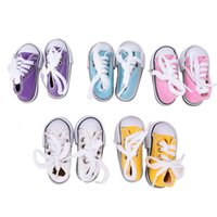 Wholesale Bjd Dolls Shoes - 1 Pair 7.5cm Canvas Shoes BJD Doll Toy Mini Doll Shoes for 16 Inch Sharon doll Boots
