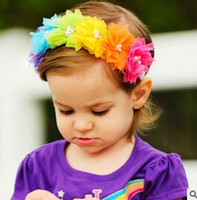 Wholesale Children Hair Net - 2016 Children chiffon flower Children's Rainbow net yarn elastic hair band baby girl colorful chiffon headband
