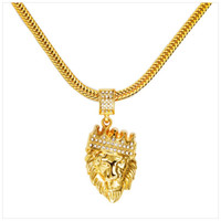 Wholesale Halloween Head Animal - Hot Mens Hip Hop Jewelry Iced Out 18K Gold Plated Fashion Bling Bling Lion Head Pendant Men Necklace Gold Filled For Gift Present
