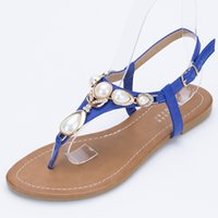 Wholesale Lambdoid Flip Flop - 2016 bohemia lambdoid sandals women's plus size rhinestone flip-flop flat-bottomed female sandals free shipping