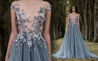 Wholesale 3d crystal art - Paolo Sebastian 2017 Prom Dresses 3D-Floral Appliques Short Sleeve Lace Dress Evening Wear Sheer Neck Flower Vintage Long Formal Party Gowns
