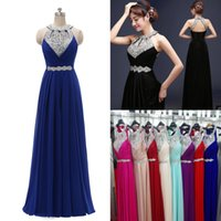 Wholesale Blue Bridesmaids Dresses Free Shipping - Sexy Halter Prom Dresses Long Crystals Sequins Evening Party Gowns Backless Formal Bridesmaids Dress Real Photo Under 100 Free Shipping