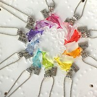Wholesale Copper Pools - Dolphin Party Silver Necklace Wish Charm 10 Party Favor Mixed Colors Necklaces Pool Party Favor, Beach Party Favor N1037