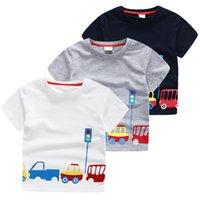 Wholesale Korean Cute Little Boy - Boys A new summer boutique Korean boy children stamp cute cartoon red light car T-shirt little boys