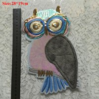 Wholesale Vintage Owl Art - 20pcs Vintage Sequin Patch For Clothing Sewing Patches Night Owl parches ropa Art Embroidered Jacket Patchwork Appliques Clothes Accessories