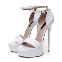 Wholesale White Shiny High Heels - Platform High Heels Sandals for Women Summer Style With Strap In White Shiny Pattern PU Sandals Round Toes Designer Shoes for BLS1002-8