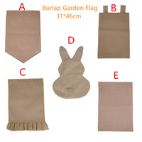 Wholesale House Halloween Decoration - Burlap Garden Flag 31*46cm Halloween Jute Ruffles DIY Linen Yard Hanging Flag House Decoration Portable Banner 5 Styles