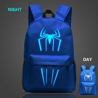 lona mochilas escola miúdos venda por atacado-Spiderman mochilas crianças mochila preta para adolescentes meninos meninas mochilas lona legal sacos de escola novo design